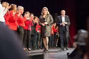 Catherine Deneuve, Gérard Collomb et les bénévoles du festival Lumière 2016