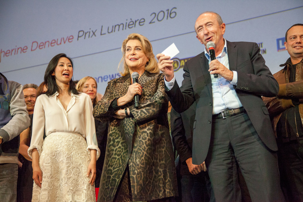 Catherine Deneuve avec Linh-Dan Pham et Gérard Collomb